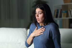 Woman suffering an anxiety attack