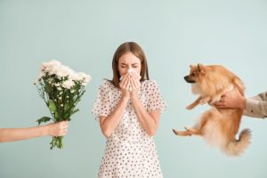 People giving flowers and dog